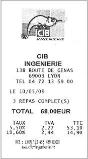 ticket logo note de repas avec TVA 5.5 et 19.6 %